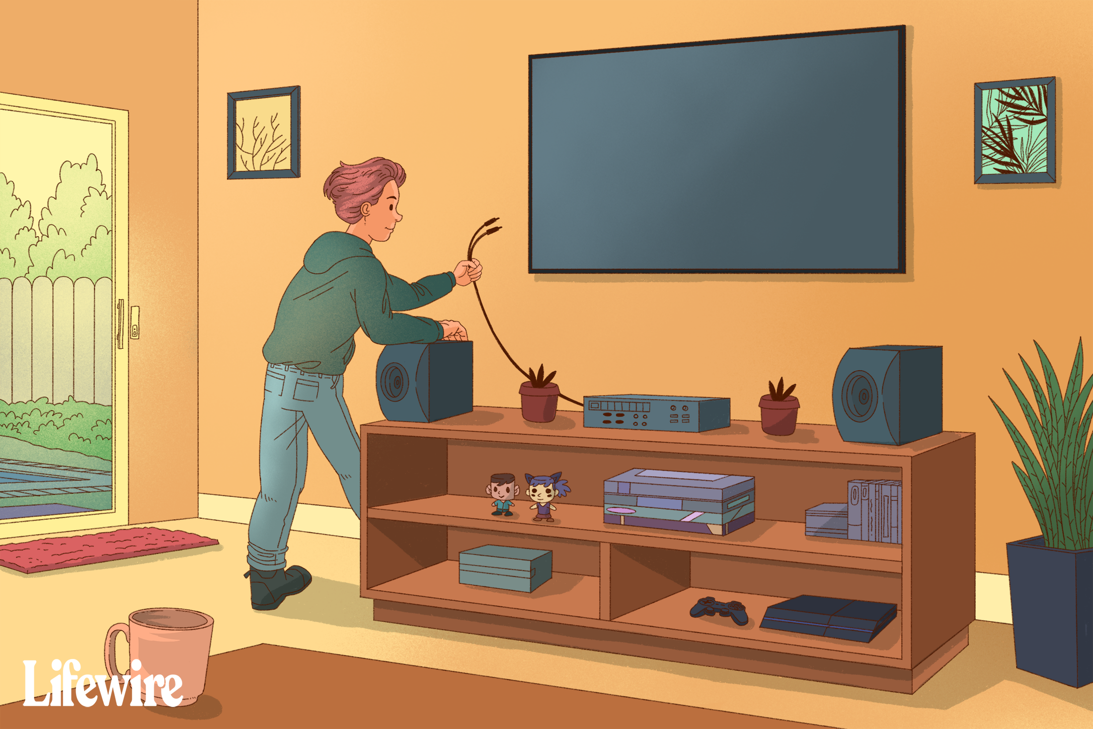 Person connecting their TV to a stereo system