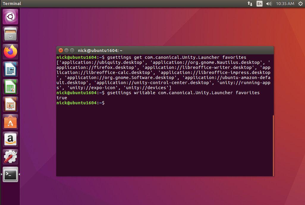 Ubuntu gsettings favorites