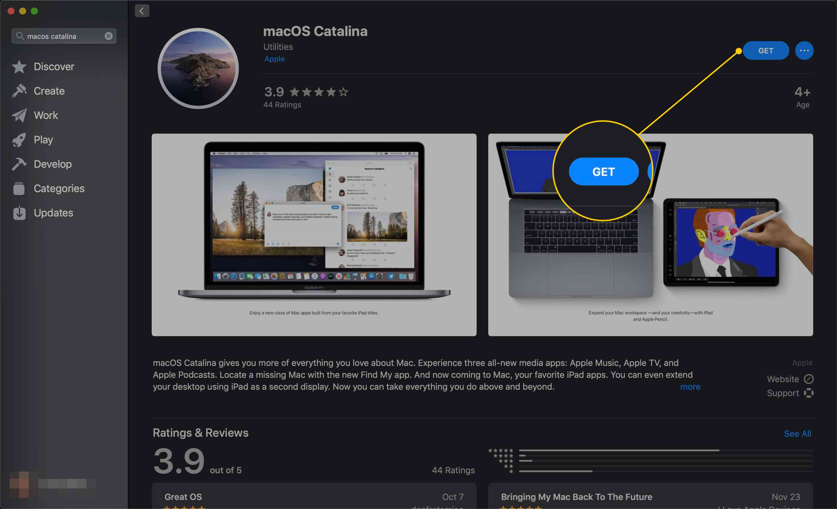 Get button on macOS Catalina's page in the App Store