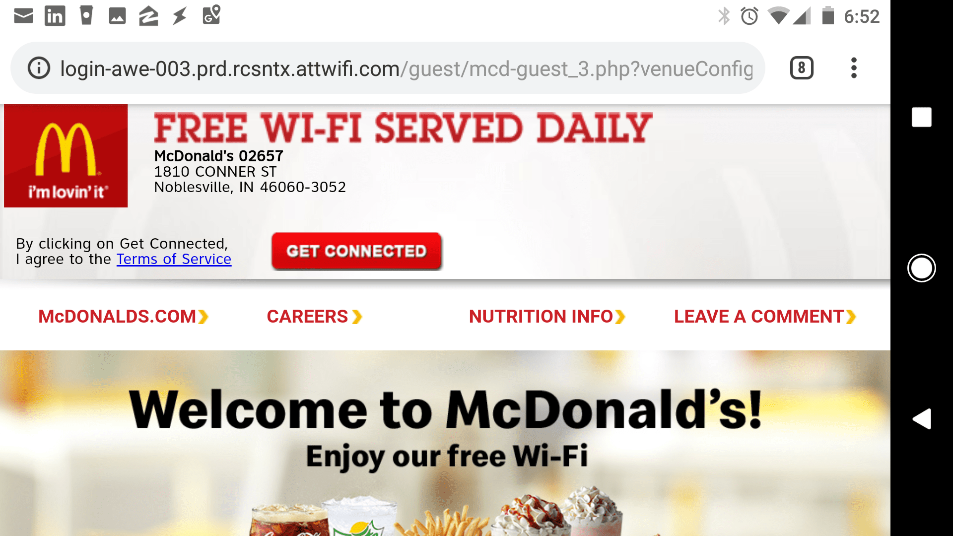McDonald's mobile Wi-Fi connection page