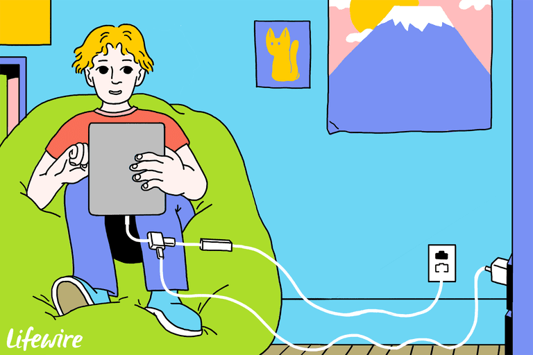 Illustration of a person connecting their iPad to a wired Ethernet cable