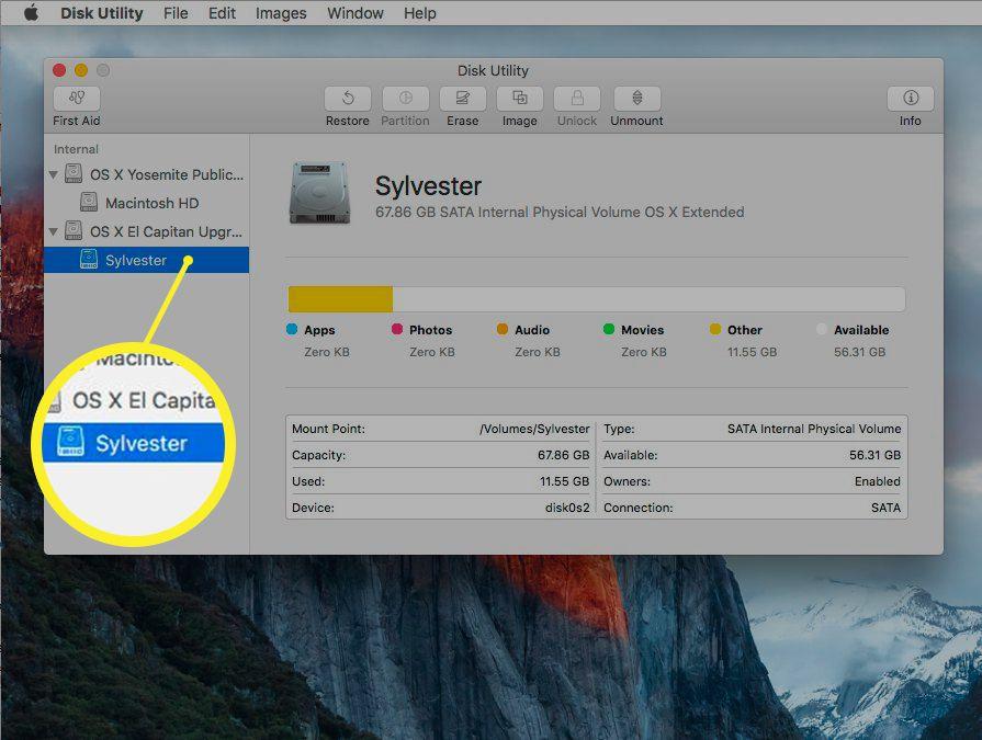 OS X El Capitan Disk Utility screenshot