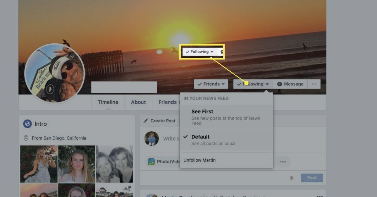 Following button on Facebook profile page