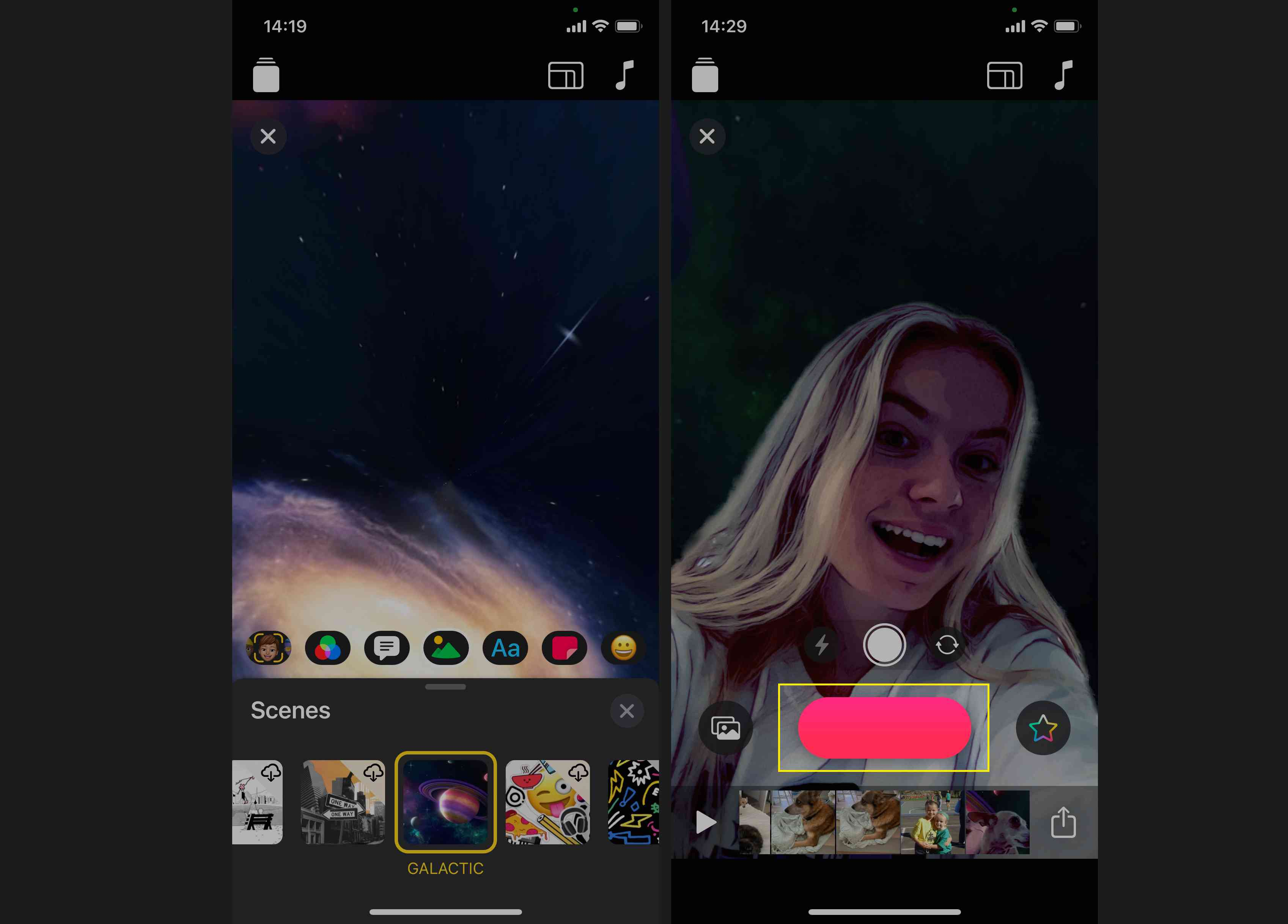 Tap and hold Record to record and add the Selfie Scene to your project's timeline.