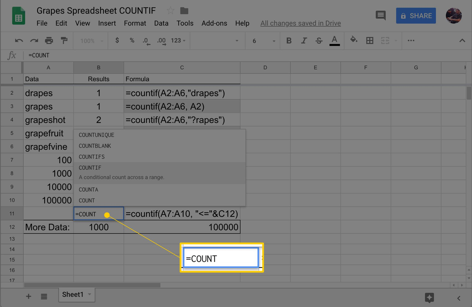 Google Sheets COUNTIF Function