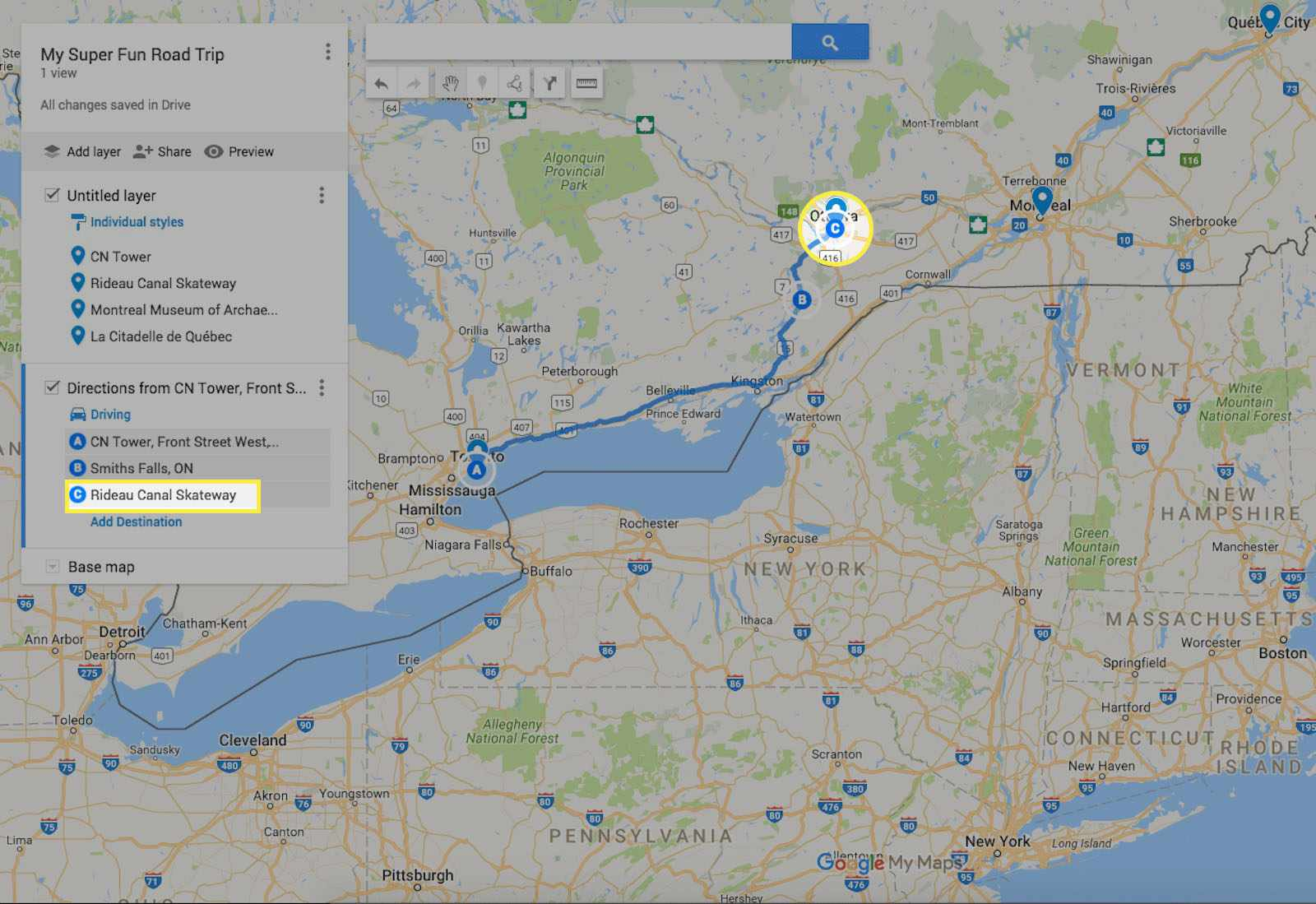 Adding more destination points in Google My Maps.