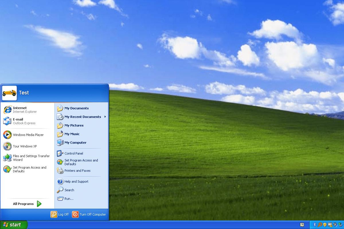 Windows XP Start Menu and desktop