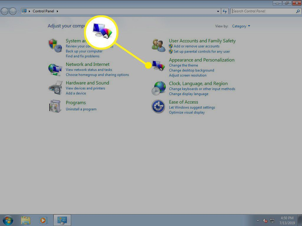 Windows Control Panel with Appearance and Personalization option highlighted