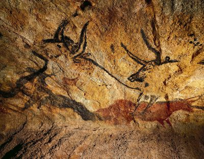 France, reconstruction of bull rock paintings of Lascaux caves