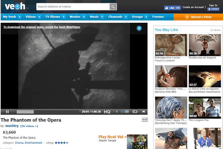Screenshot of the movie 'The Phantom of the Opera' on Veoh