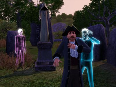 Sims ghost chasing revolutionary dressed sim in cemetery