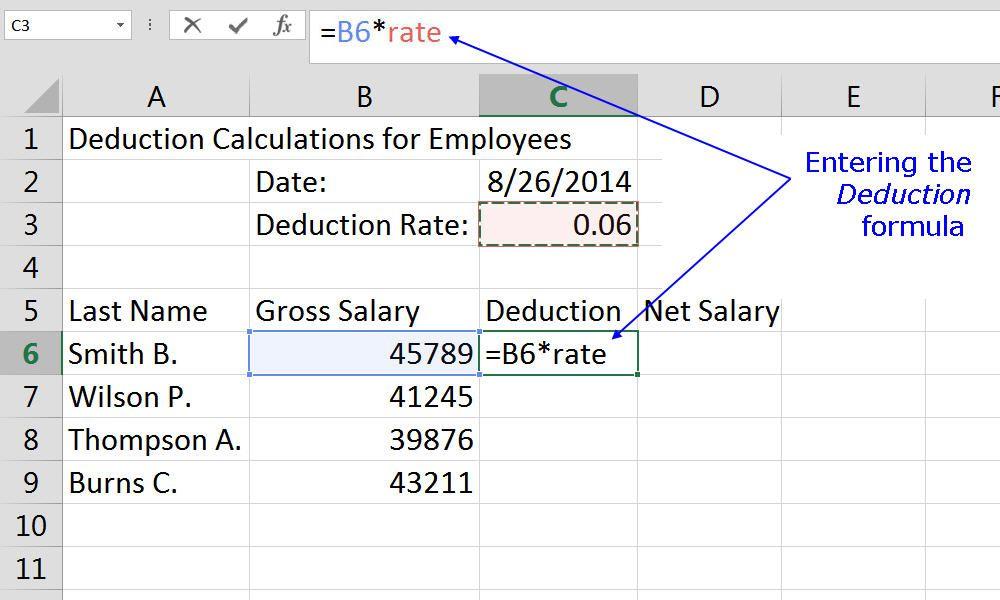 Entering the deduction formula into an Excel worksheet