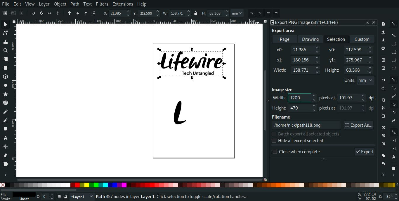 Export Graphics from Inkscape