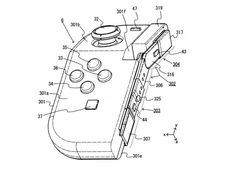 Japanese patent drawing of a bendable Nintendo Switch controller.
