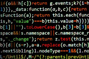 Javascript code over a black background