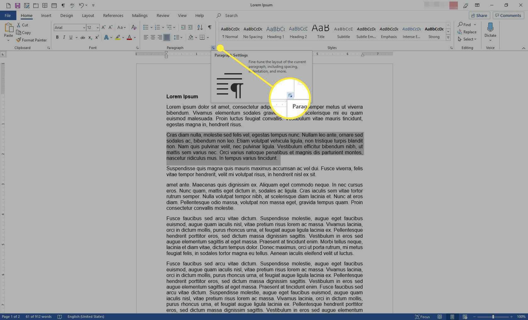 The Paragraph dialog box launcher