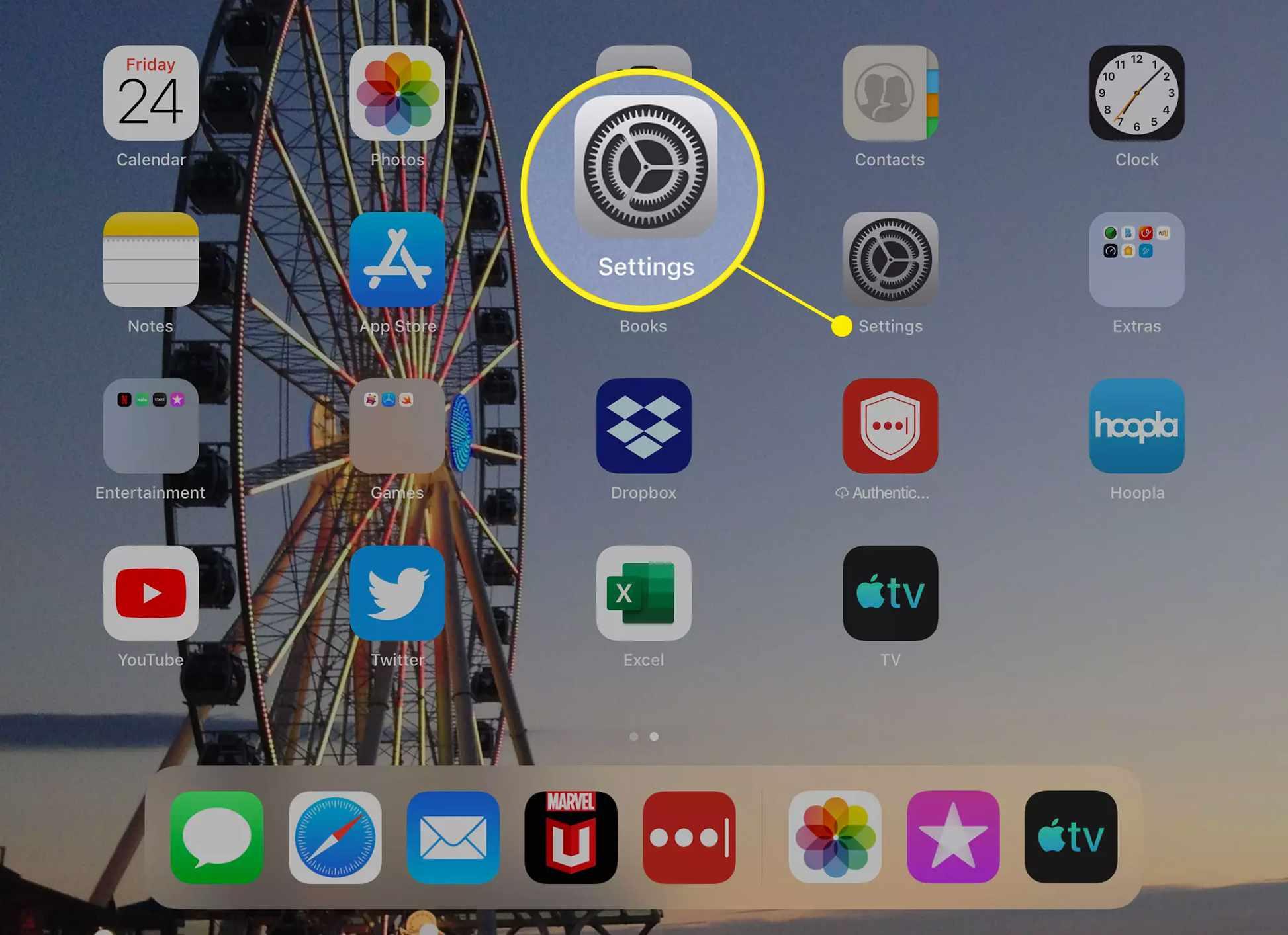 The Settings app icon on an iPad