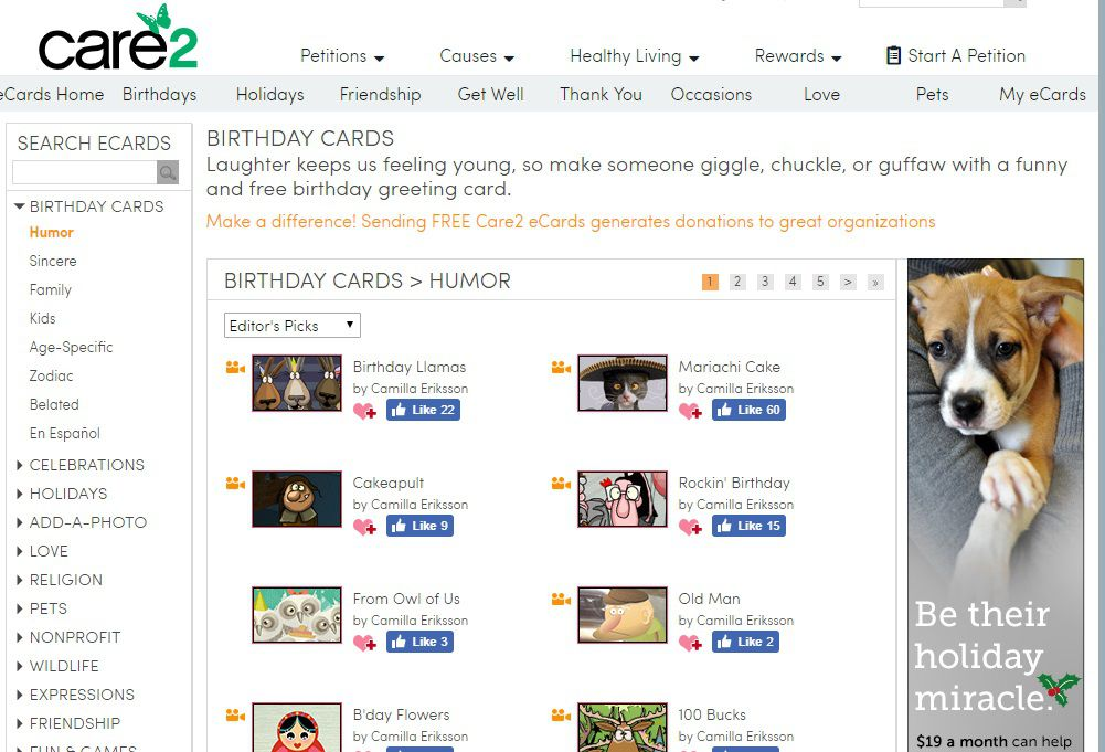 Care2 Birthday E Cards Screenshot