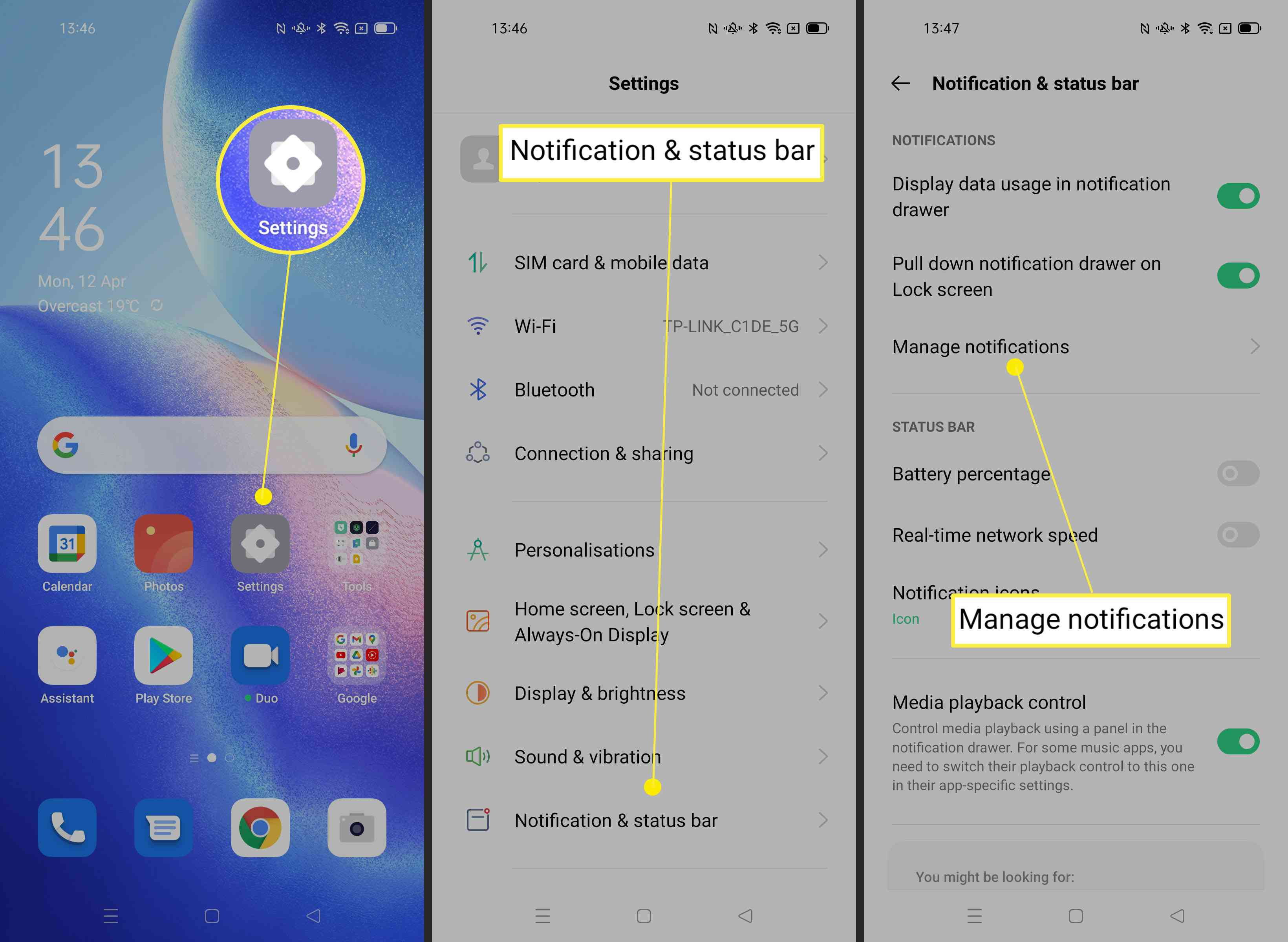 Steps required to manage notifications and adjust vibration on Android phone