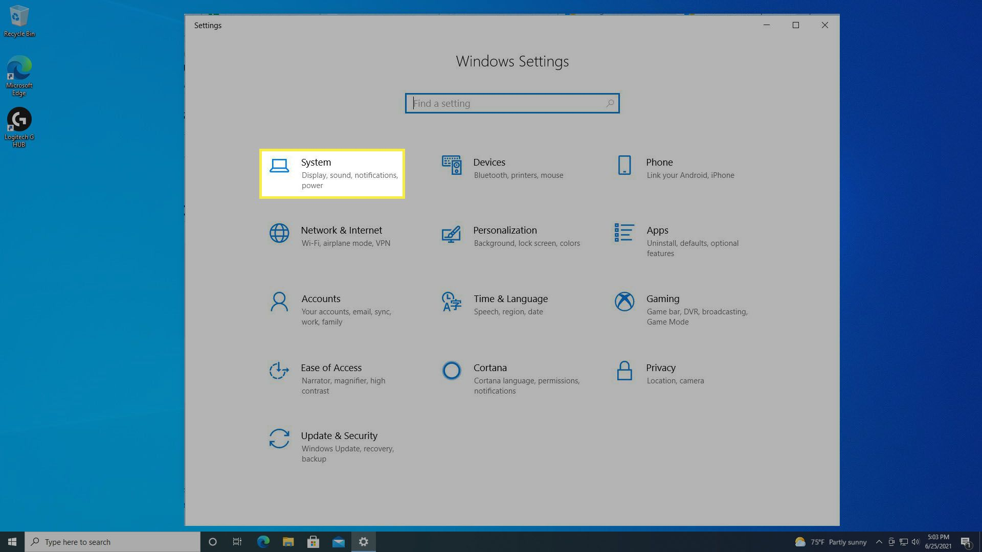 Selecting System from the Windows 10 Settings.