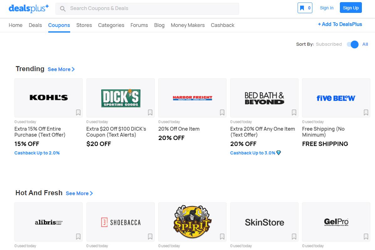 Screenshot of trending coupon codes at DealsPlus