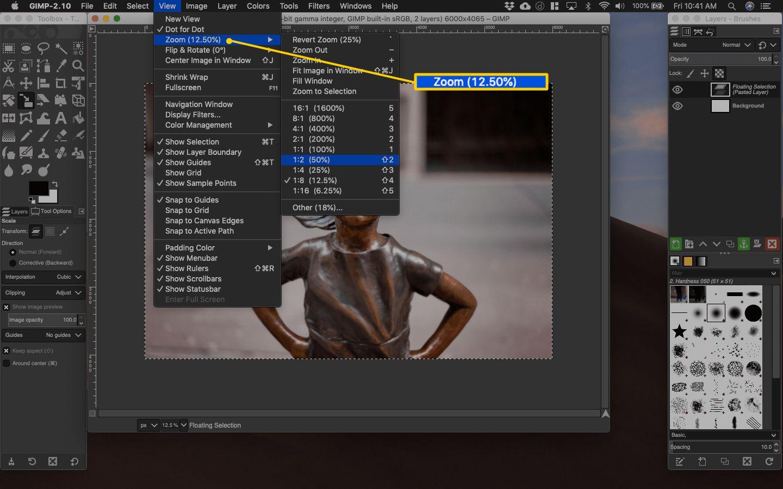 Zoom menu in Gimp for macOS