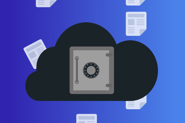 Online backup illustration with papers floating around a secure cloud
