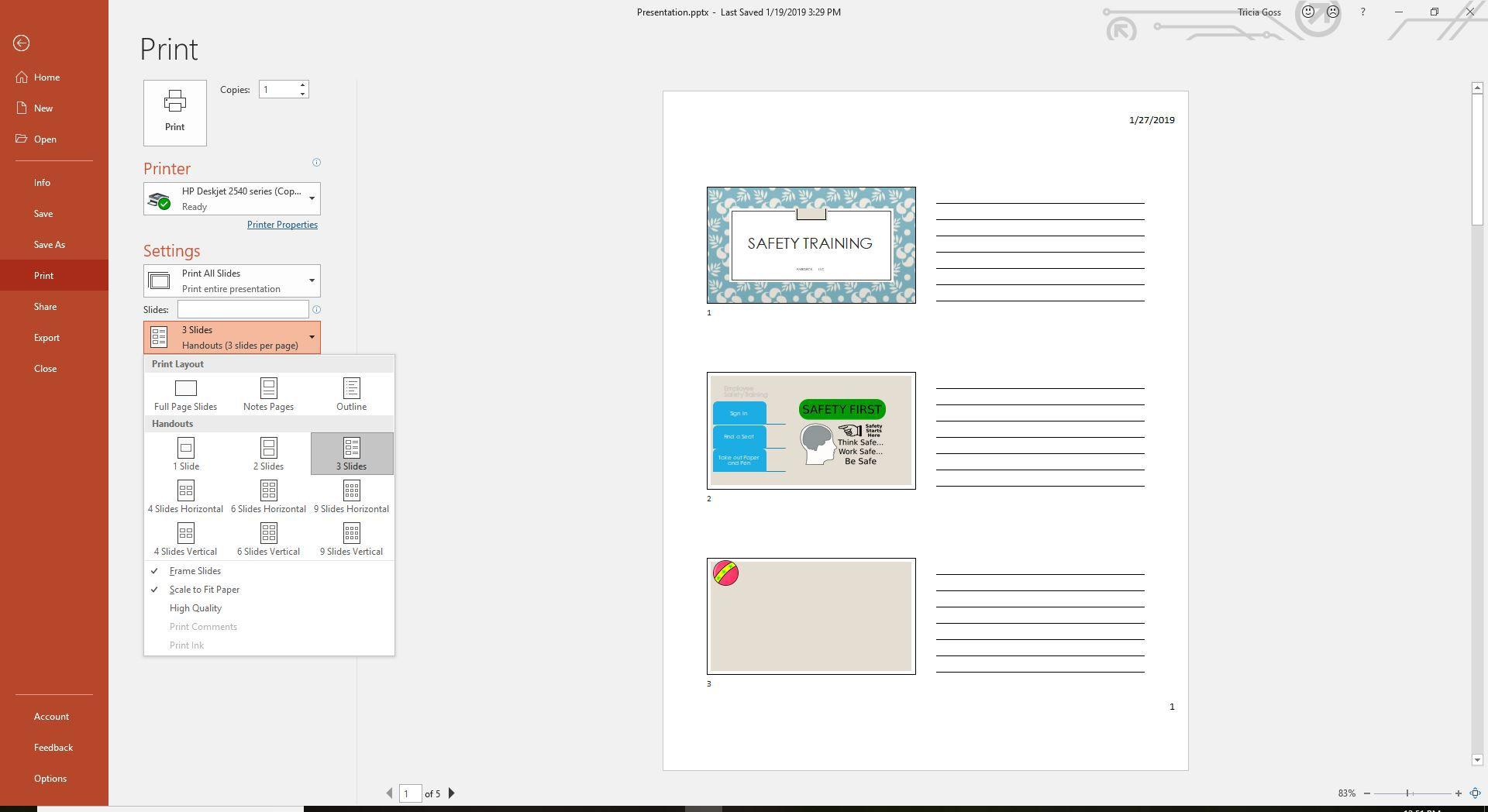 Printing Settings in PowerPoint