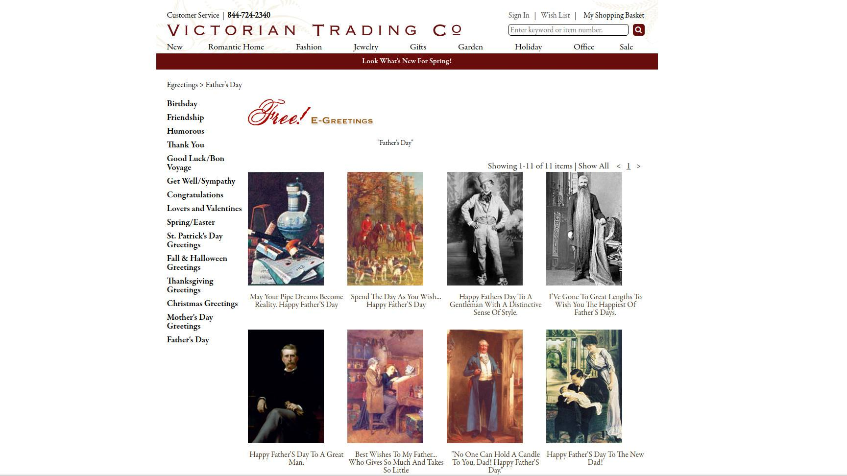 Victorian Trading Co. web page