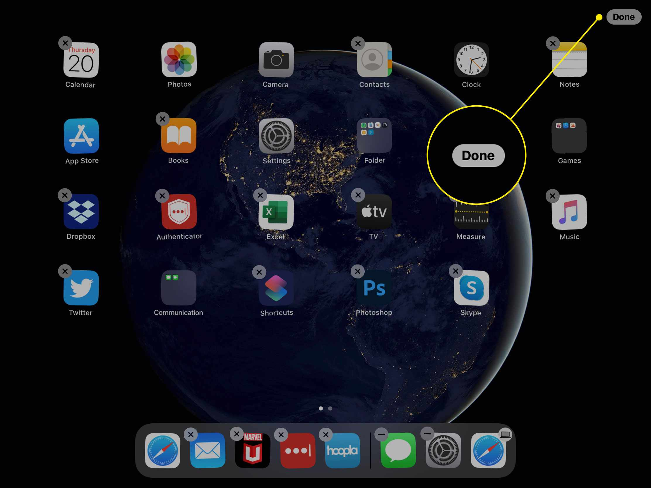The Done button for organizing the home screen on an iPad