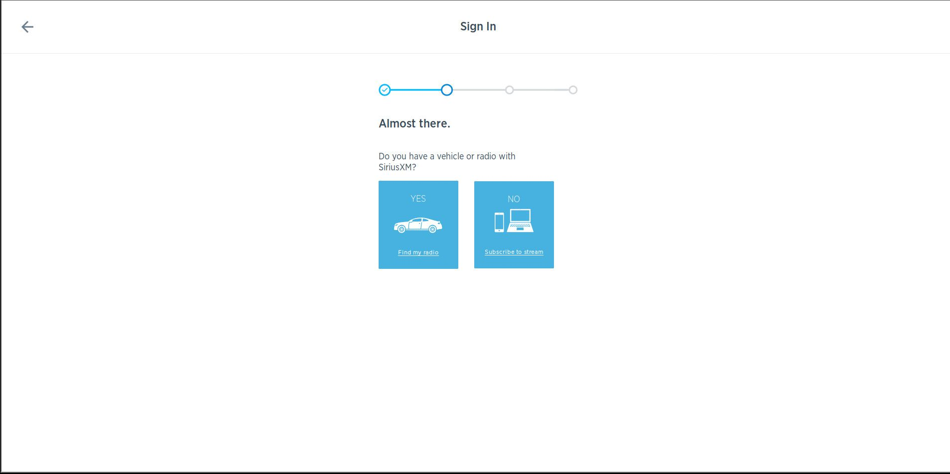 SiriusXM vehicle or streaming plan select page.