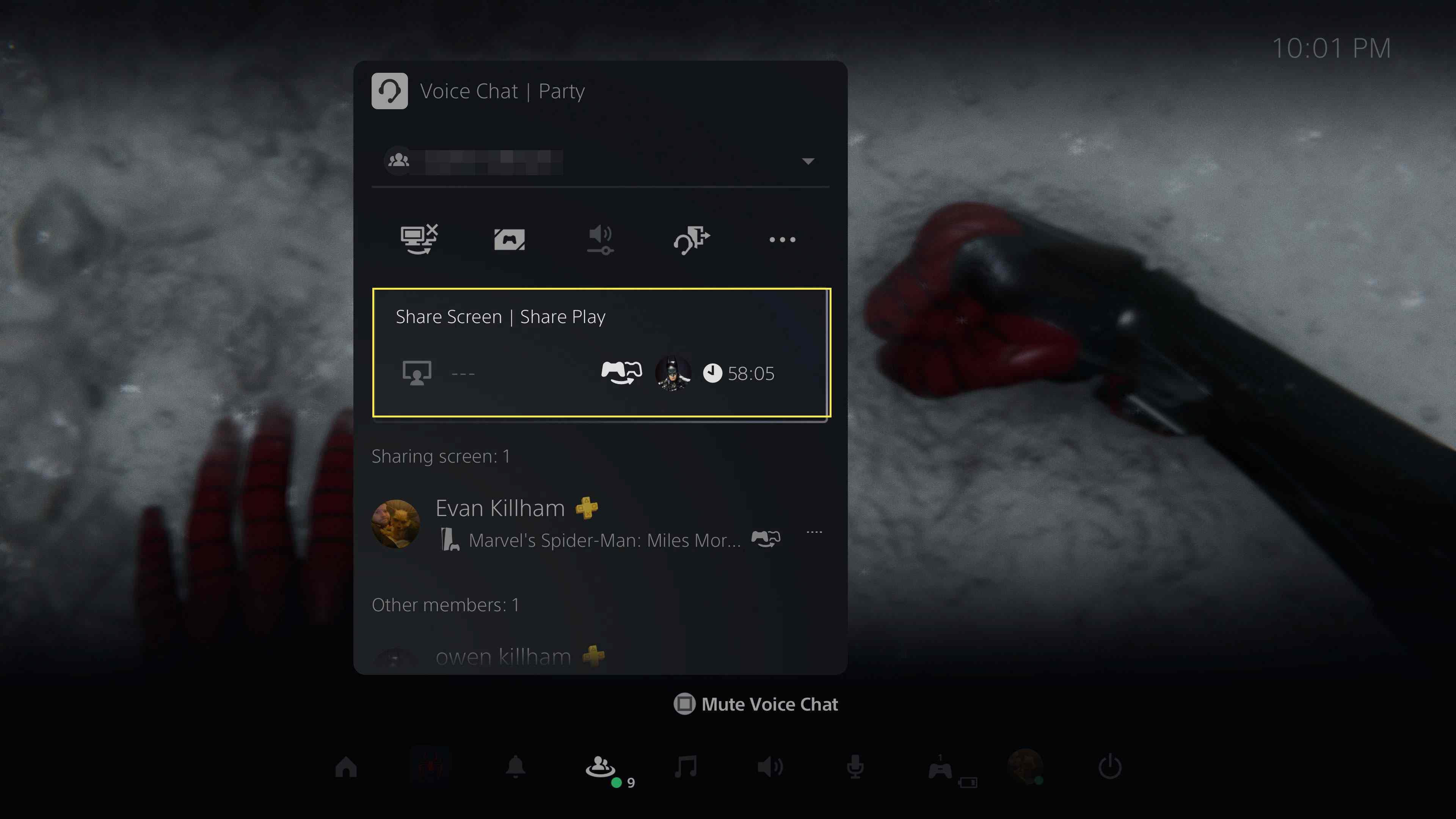 The Share Screen | Share Play menu item