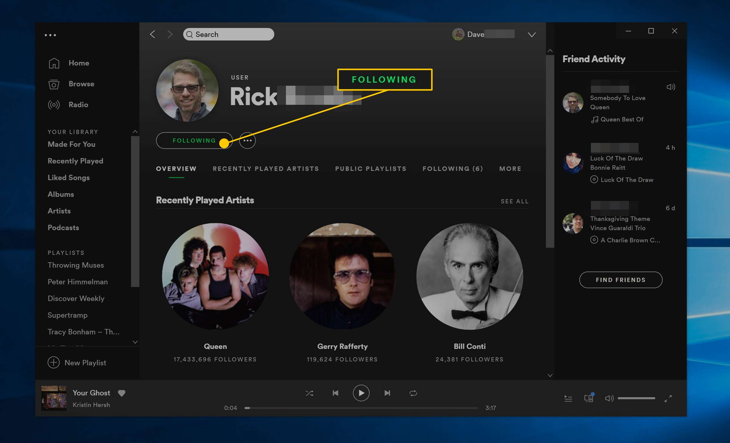 Following button in Spotify