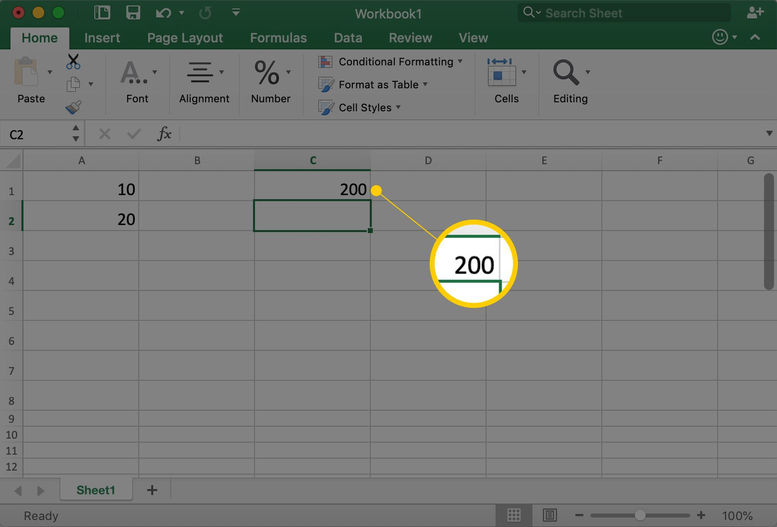 Excel showing cell A1 with the number 200 in it