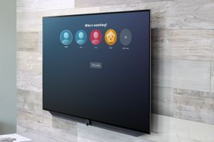 Television on the wall with Amazon Prime profiles on screen