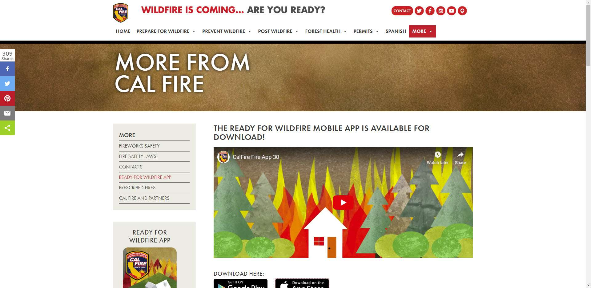Screenshot of the Cal Fire website for the Ready For Wildfire App.
