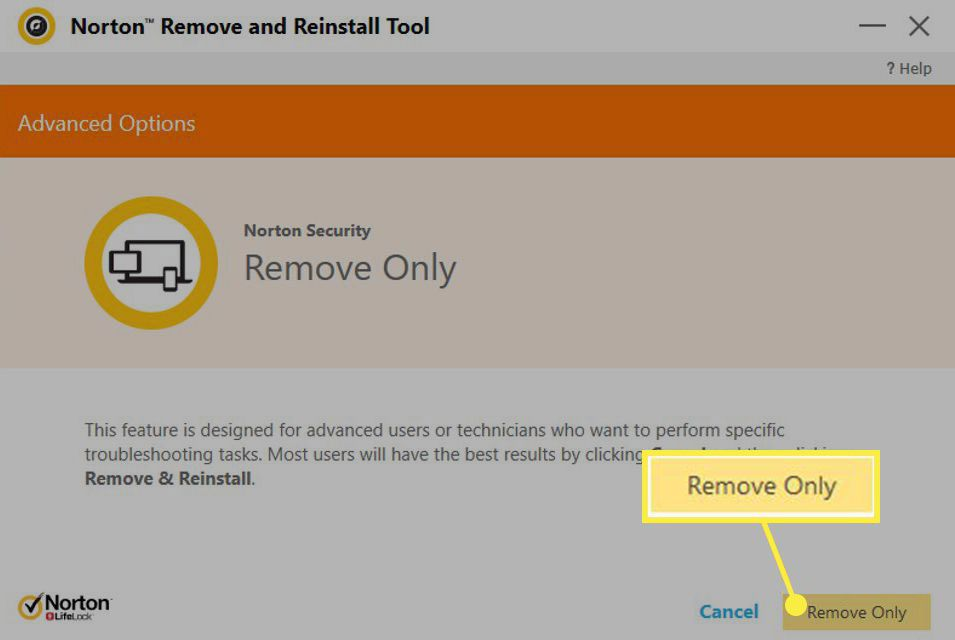 The Remove Only button in Norton Security