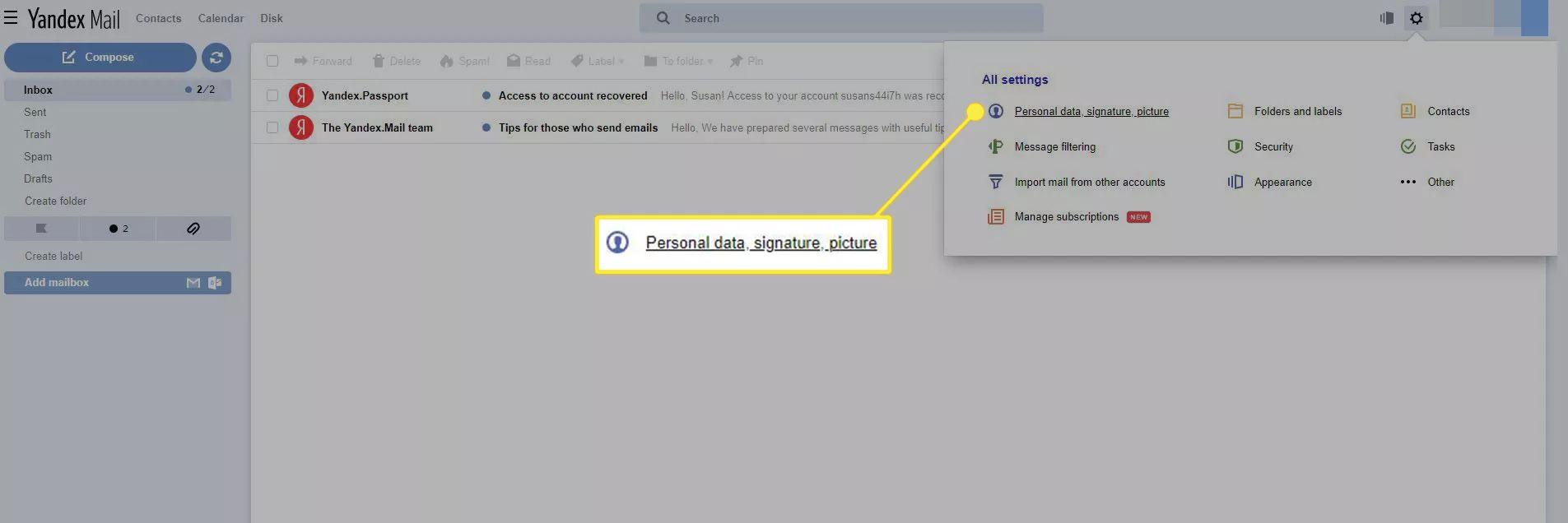 The Yandex Mail app with 'Personal data, signature, picture' highlighted