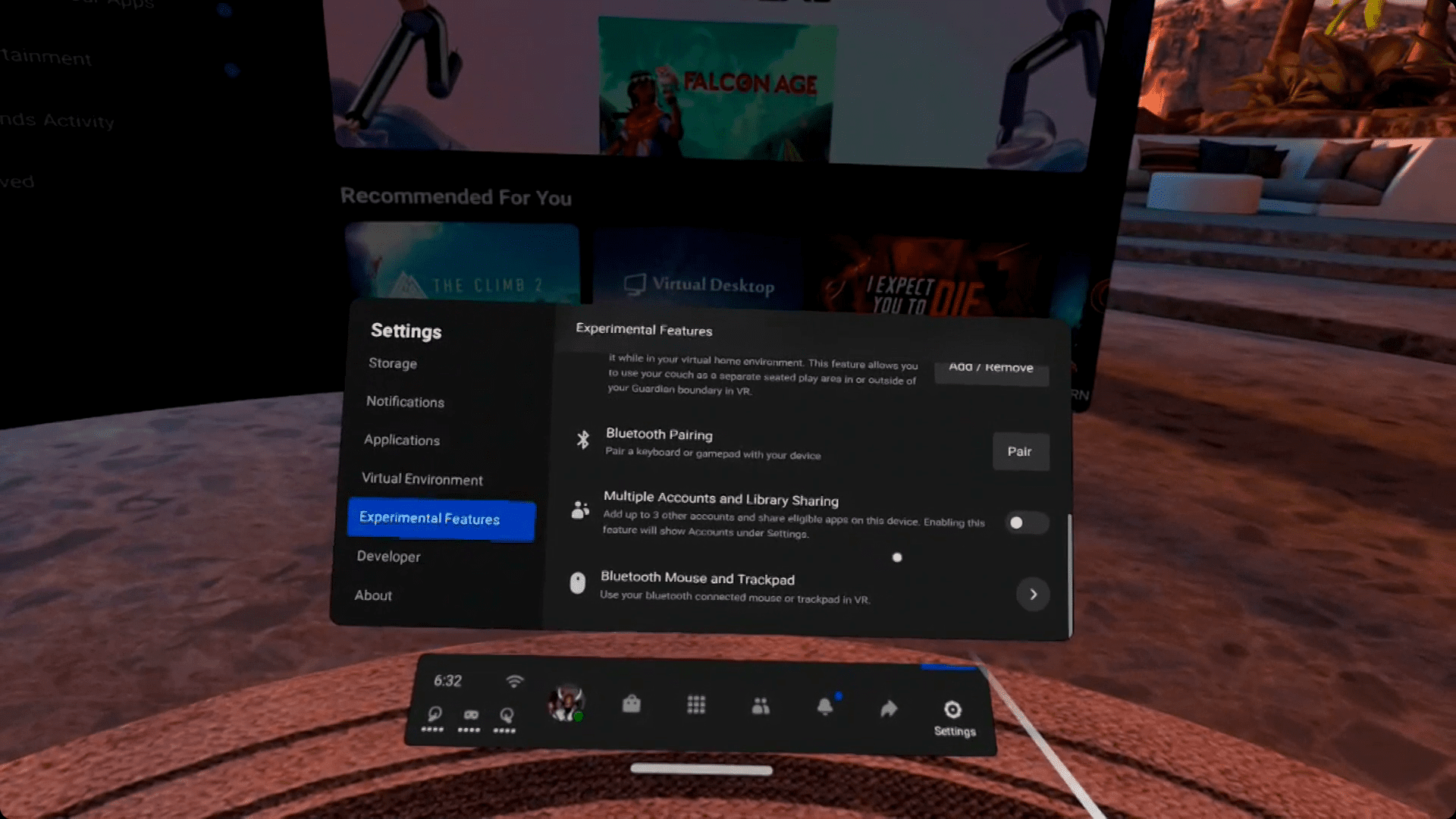 The Multiple Accounts and Library Sharing toggle highlighted in the Oculus Quest experimental settings menu.