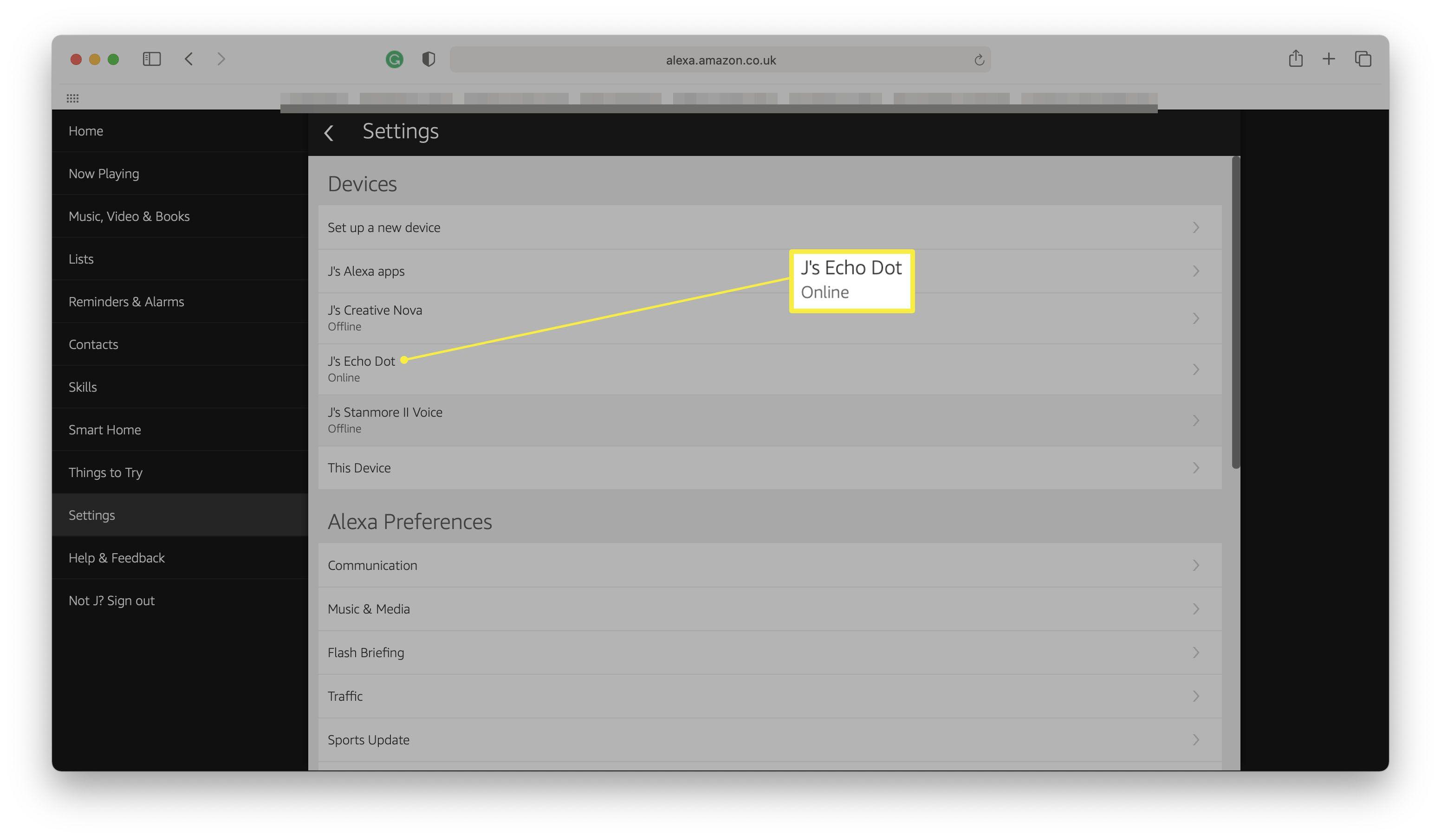Alexa website with Alexa device highlighted