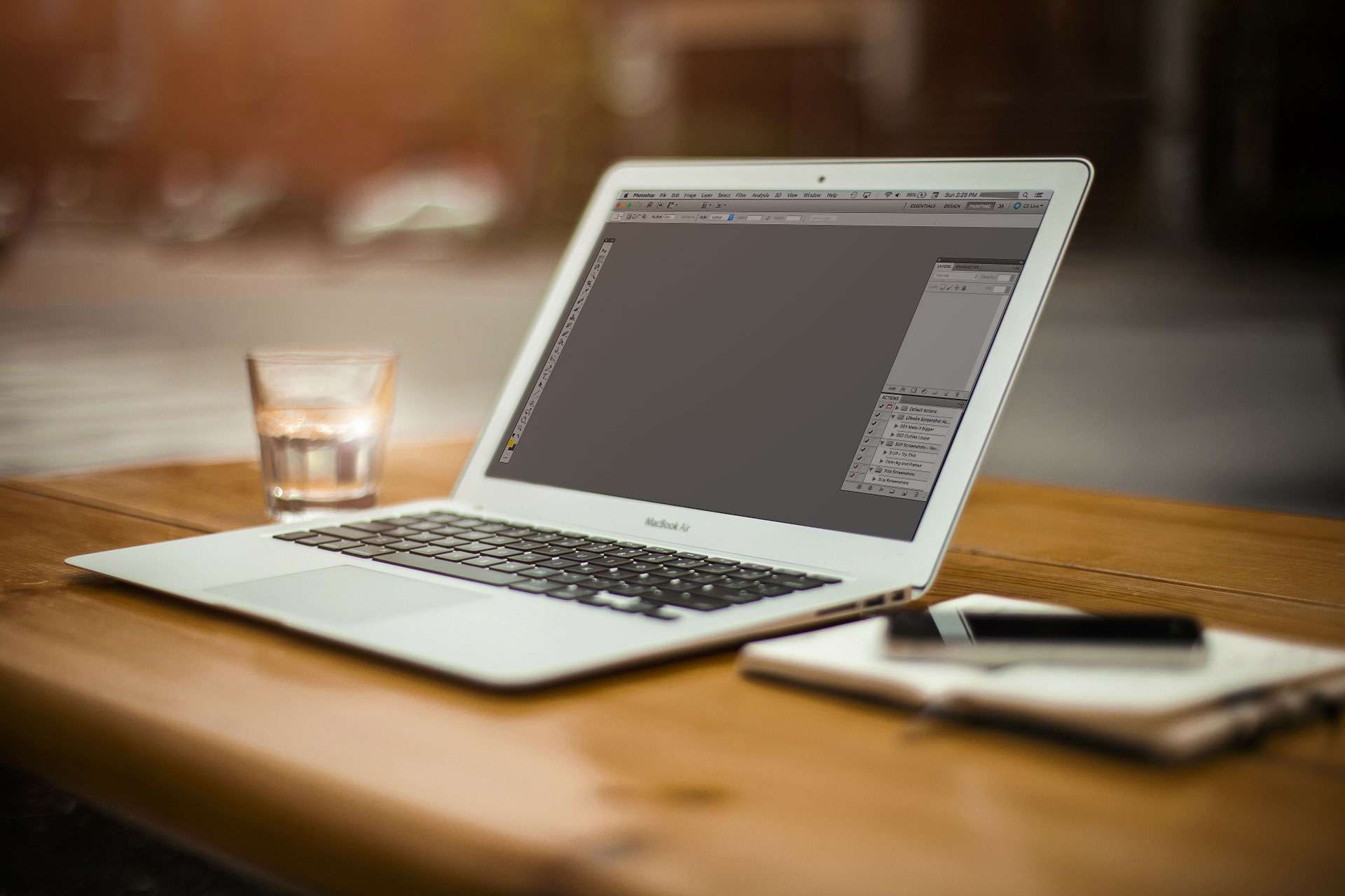 A Macbook Air running Photoshop