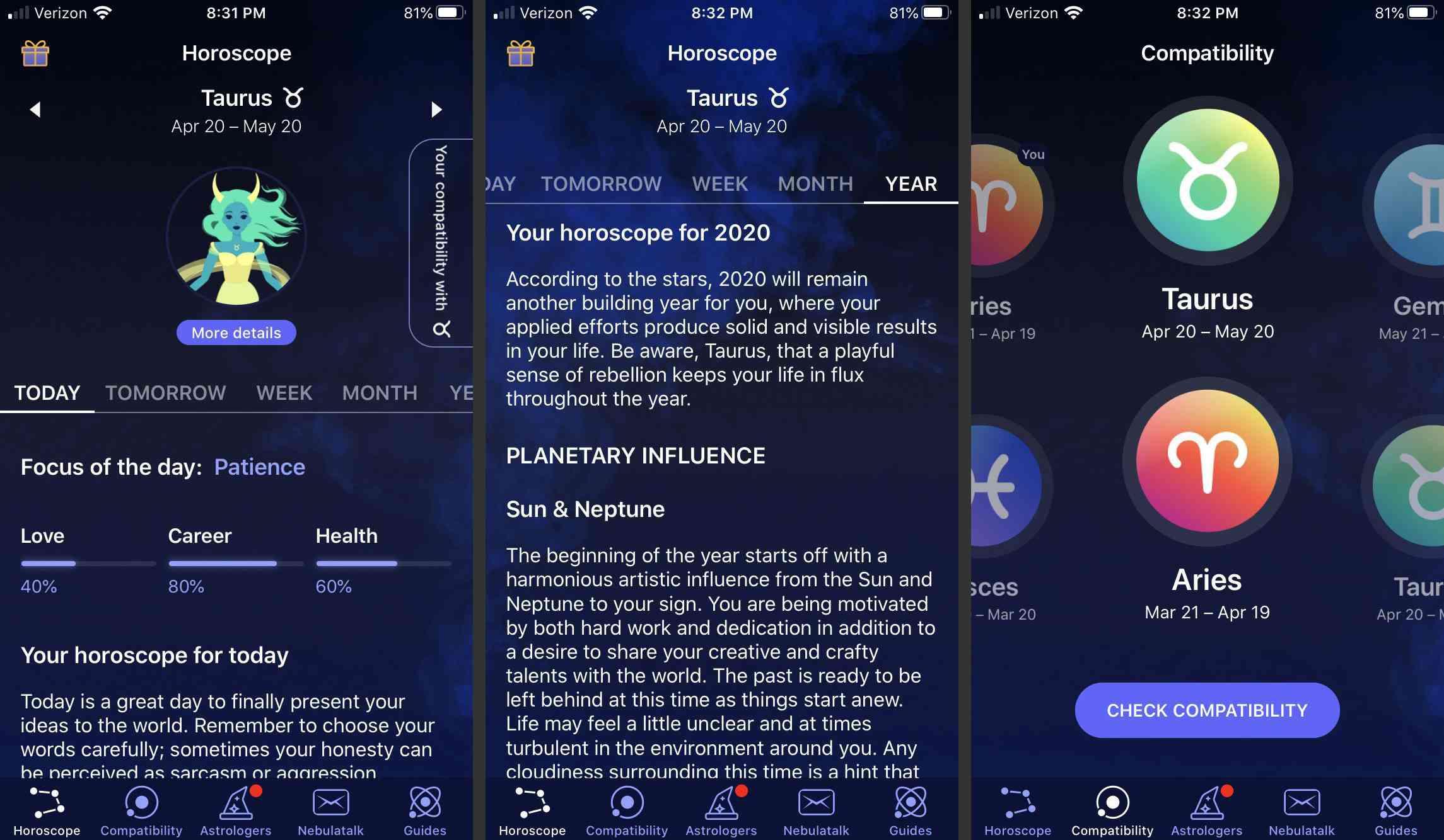 Screenshots of the Nebula app.