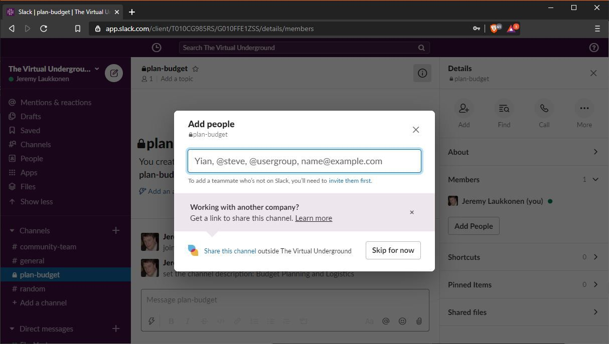 A screenshot of adding people to a channel on Slack.