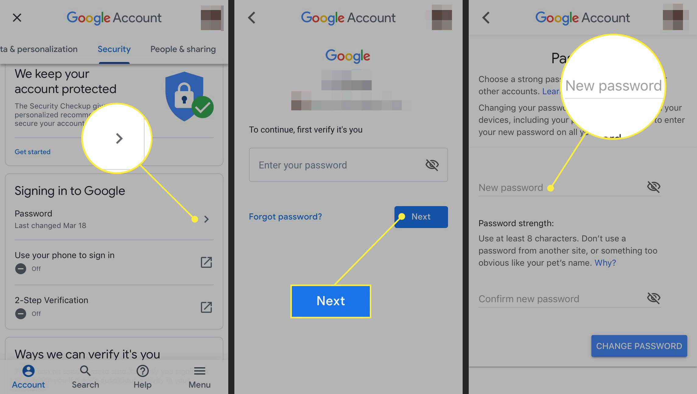 Changing the password in Gmail for iPhone