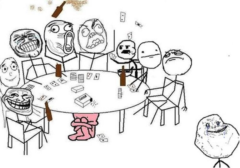 Illustration of Several Rage Comics characters playing cards at a table