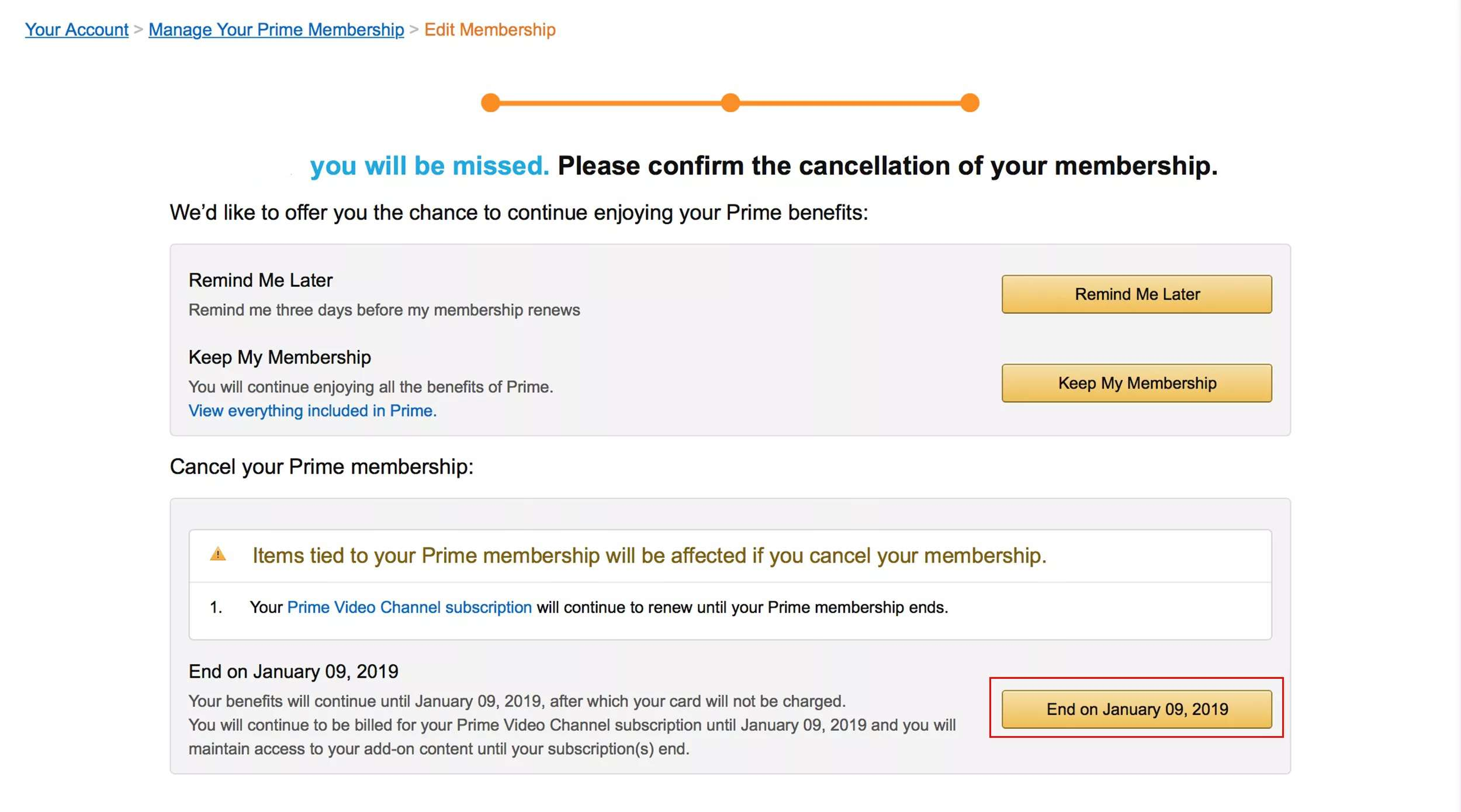 Final page to cancel Amazon Prime