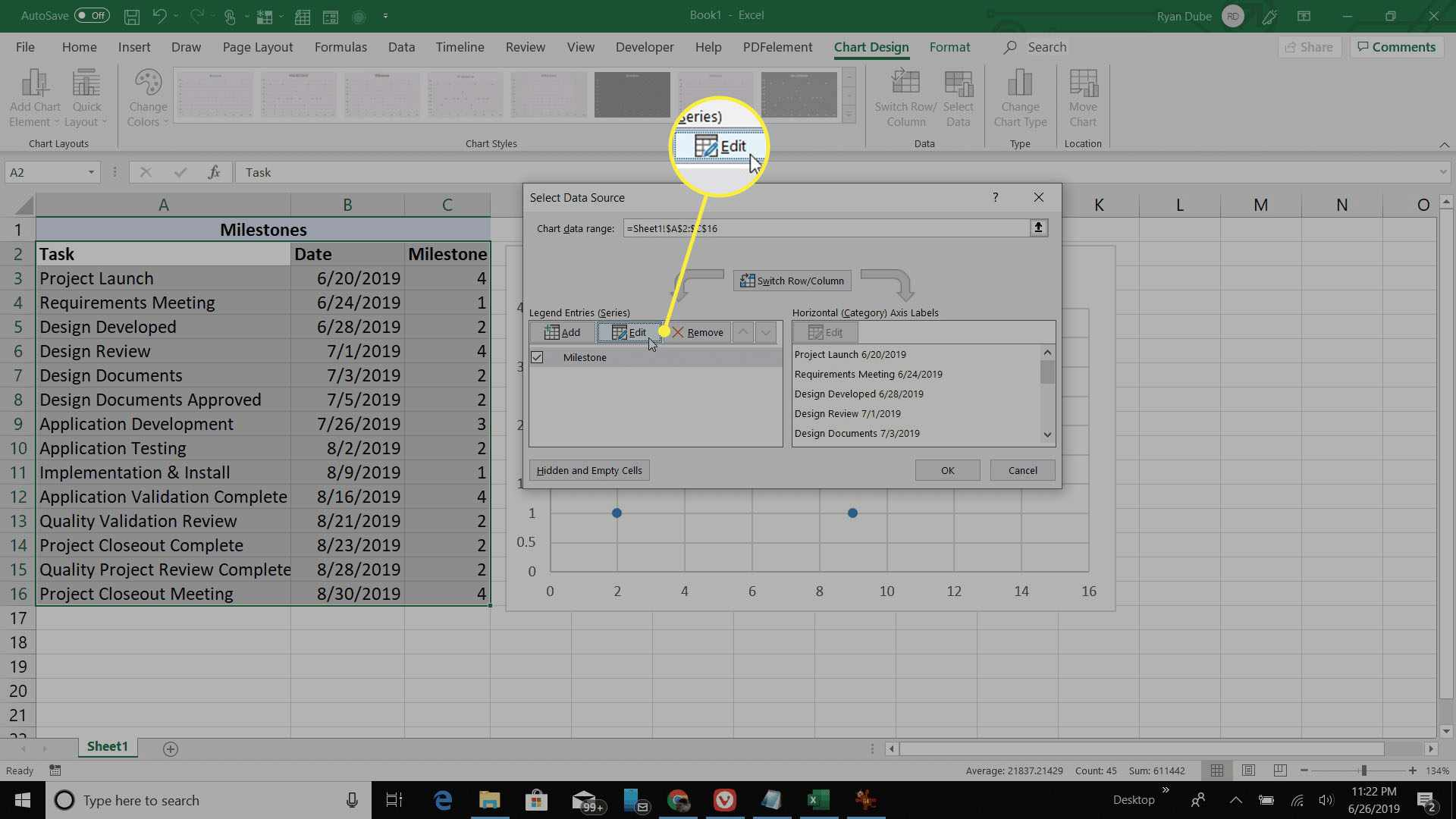 selecting scatter plot data source