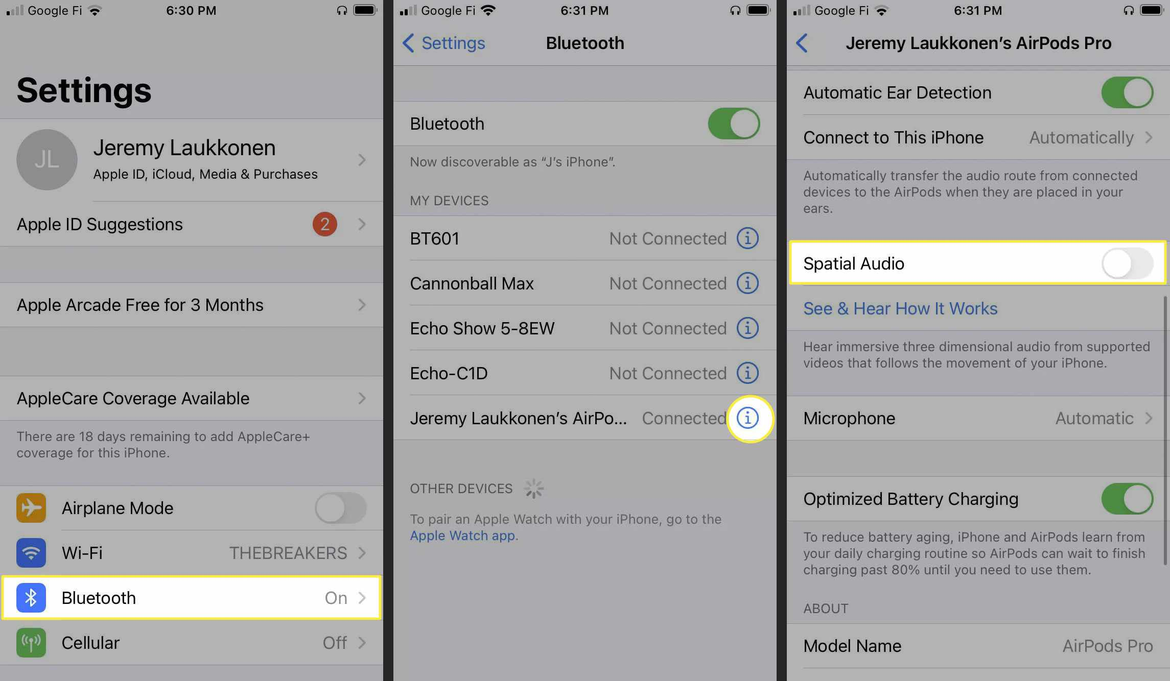 Steps to turn on Spatial Audio on iOS.