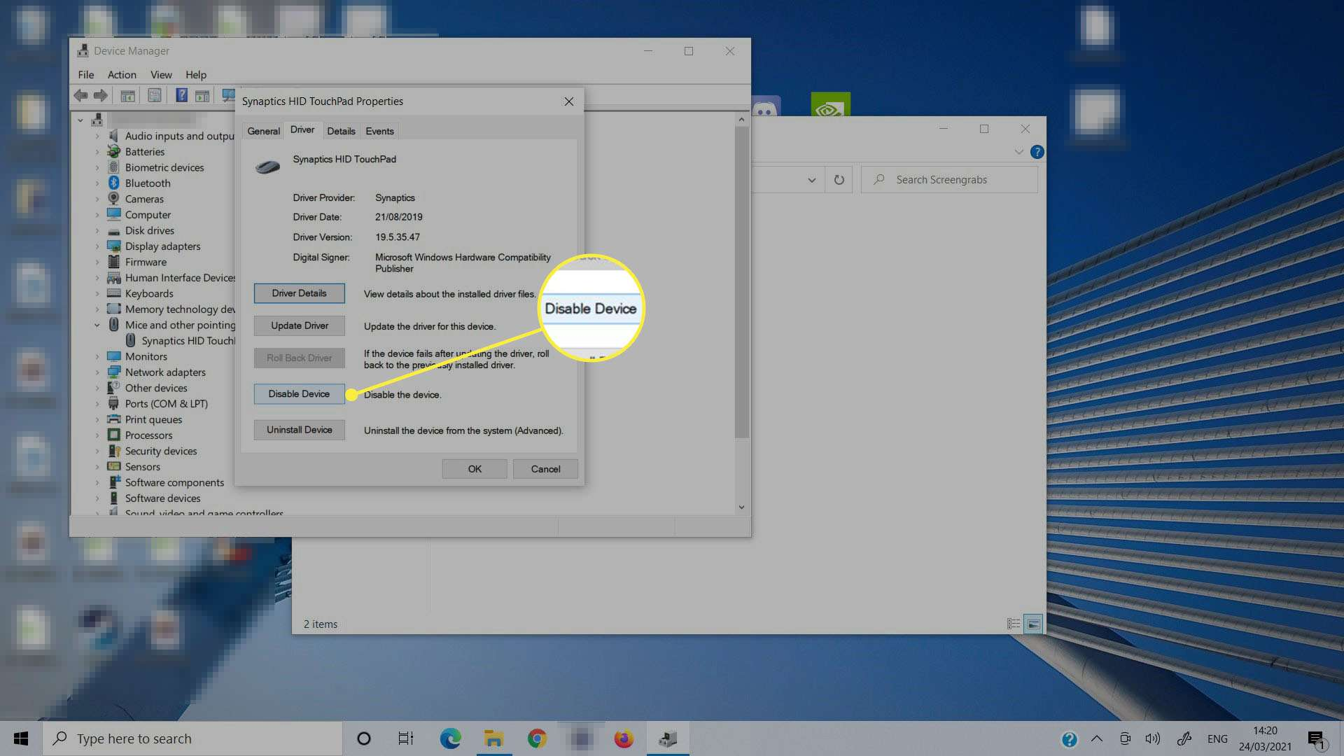 Selecting Disable Device in Device Manager.