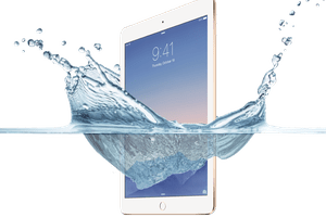 iPad being submerged in water